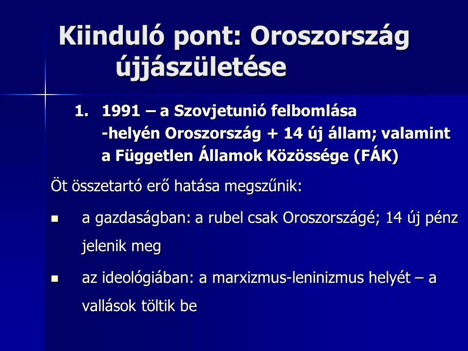 Kiinduló pont: Oroszország újjászületése 1.1991 – a Szovjetunió felbomlása -helyén Oroszország + 14 új állam; valamint a Független Államok Közössége (