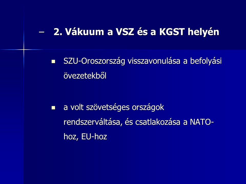 –2. Vákuum a VSZ és a KGST helyén SZU-Oroszország visszavonulása a befolyási övezetekből SZU-Oroszország visszavonulása a befolyási övezetekből a volt