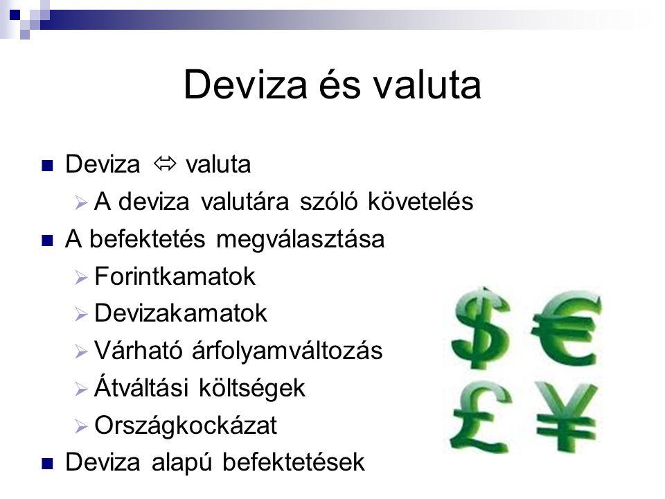 Deviza és valuta Deviza  valuta  A deviza valutára szóló követelés A befektetés megválasztása  Forintkamatok  Devizakamatok  Várható árfolyamvált