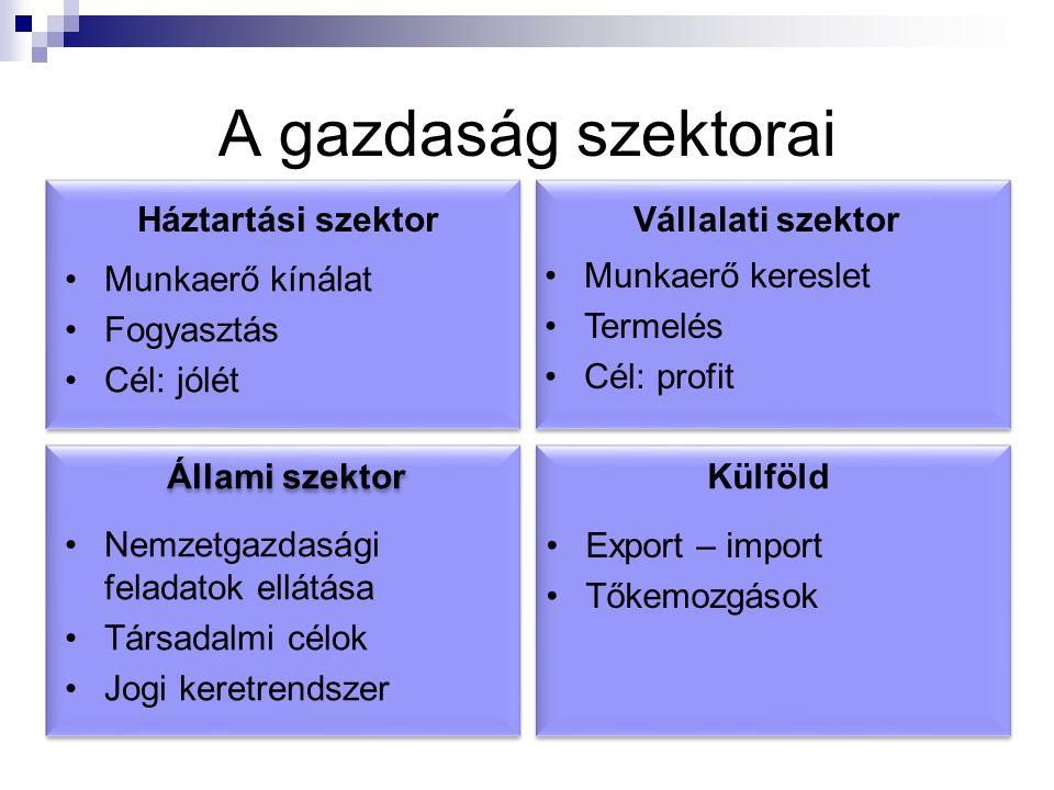 A gazdaság szektorai Állami szektor Nemzetgazdasági feladatok ellátása Társadalmi célok Jogi keretrendszer Export – import Tőkemozgások Külföld Háztar
