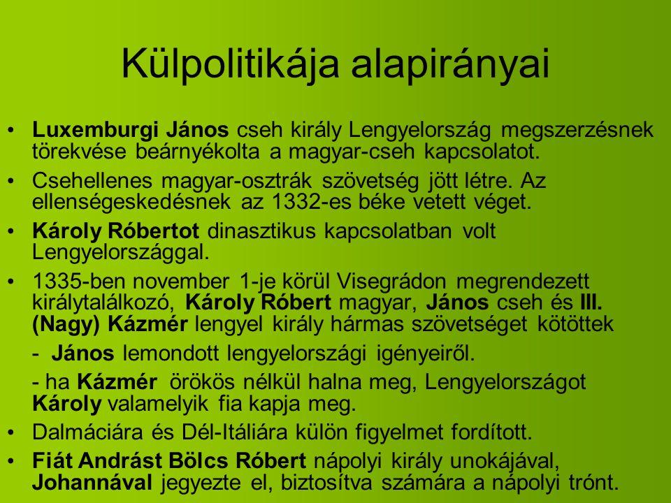 Külpolitikája alapirányai Luxemburgi János cseh király Lengyelország megszerzésnek törekvése beárnyékolta a magyar-cseh kapcsolatot. Csehellenes magya
