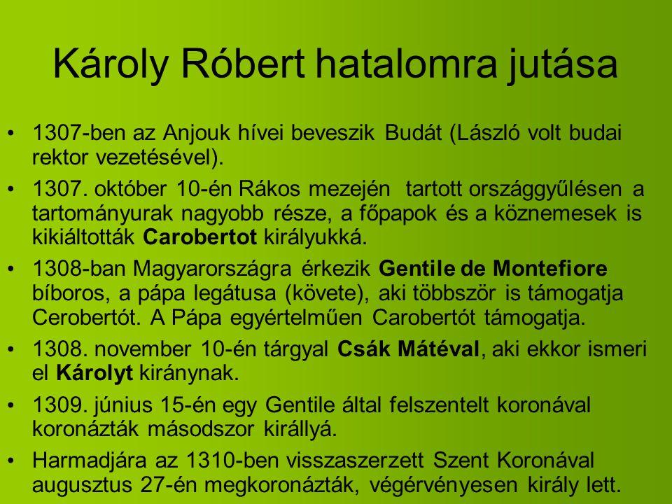 Károly Róbert hatalomra jutása 1307-ben az Anjouk hívei beveszik Budát (László volt budai rektor vezetésével). 1307. október 10-én Rákos mezején tarto