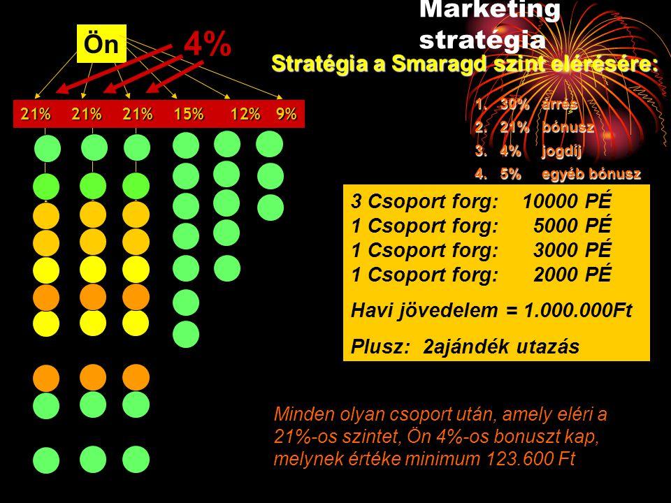 Ön 3 Csoport forg: 10000 PÉ 1 Csoport forg: 5000 PÉ 1 Csoport forg: 3000 PÉ 1 Csoport forg: 2000 PÉ Havi jövedelem = 1.000.000Ft Plusz: 2ajándék utazá