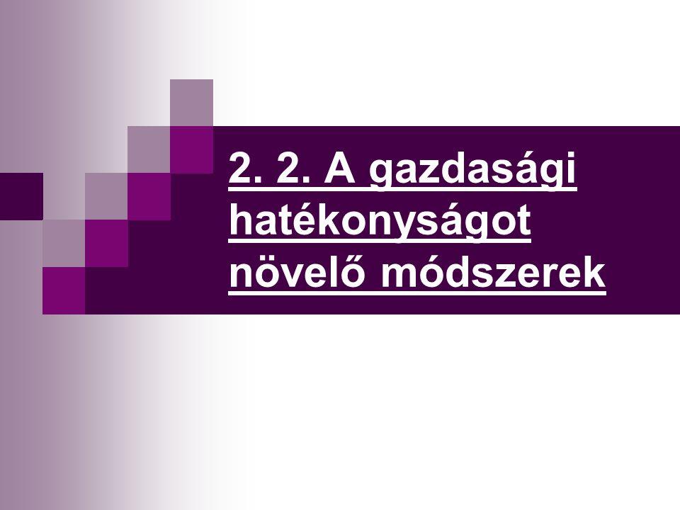 2. 2. A gazdasági hatékonyságot növelő módszerek
