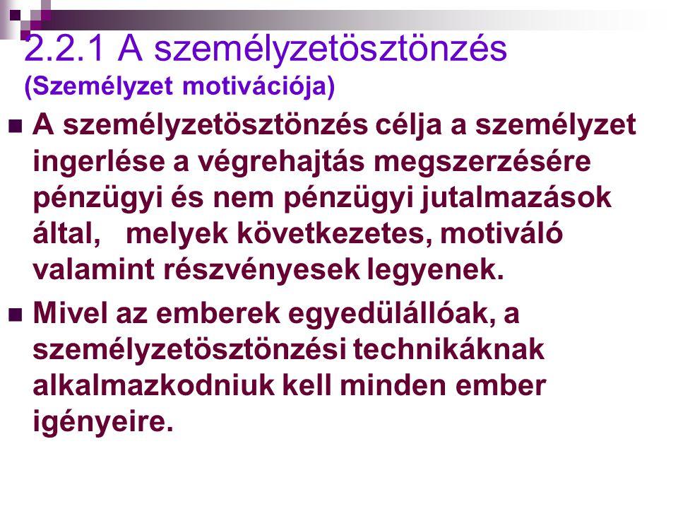 2.2.1 A személyzetösztönzés (Személyzet motivációja) A személyzetösztönzés célja a személyzet ingerlése a végrehajtás megszerzésére pénzügyi és nem pénzügyi jutalmazások által, melyek következetes, motiváló valamint részvényesek legyenek.