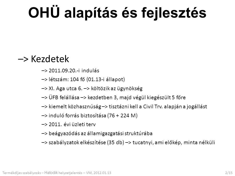 OHÜ alapítás és fejlesztés –> Kezdetek –> 2011.09.20.-i indulás –> létszám: 104 fő (01.13-i állapot) –> XI.