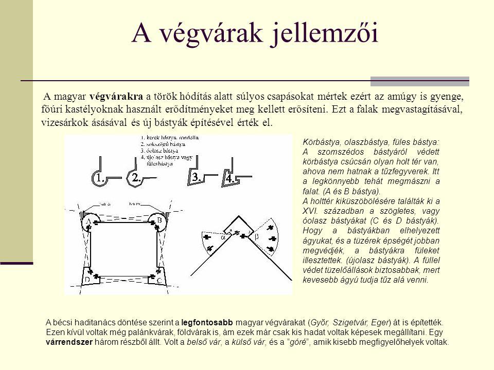 A végvárak jellemzői A magyar végvárakra a török hódítás alatt súlyos csapásokat mértek ezért az amúgy is gyenge, főúri kastélyoknak használt erődítmé