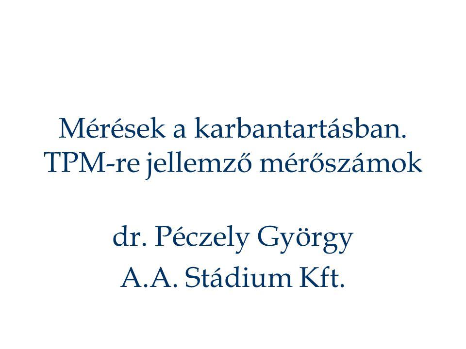 Mérések a karbantartásban. TPM-re jellemző mérőszámok dr. Péczely György A.A. Stádium Kft.