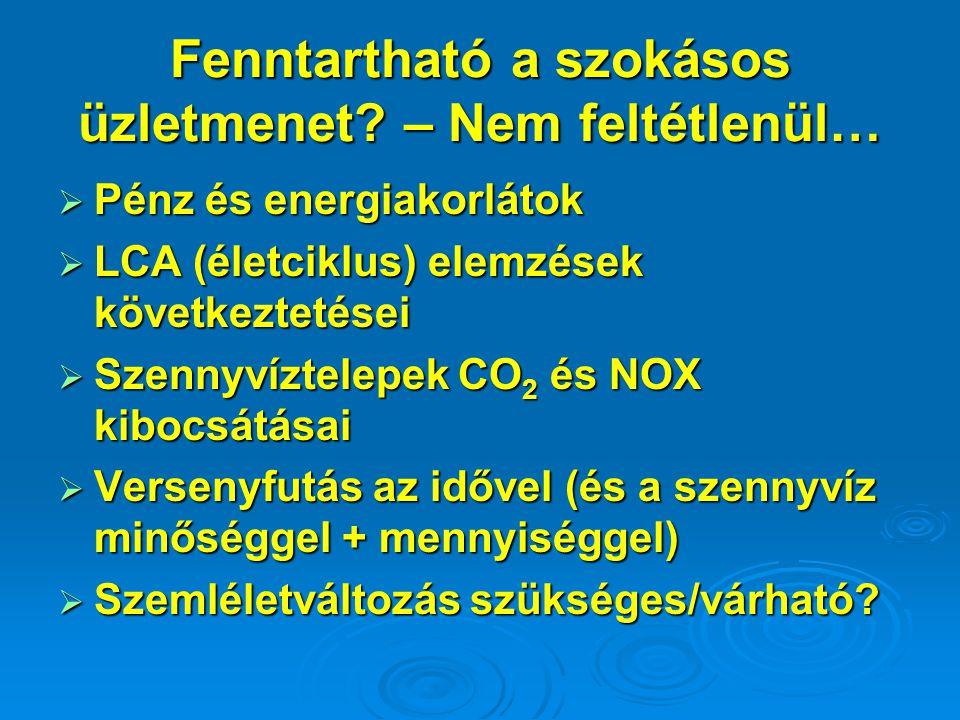 Fenntartható a szokásos üzletmenet? – Nem feltétlenül…  Pénz és energiakorlátok  LCA (életciklus) elemzések következtetései  Szennyvíztelepek CO 2
