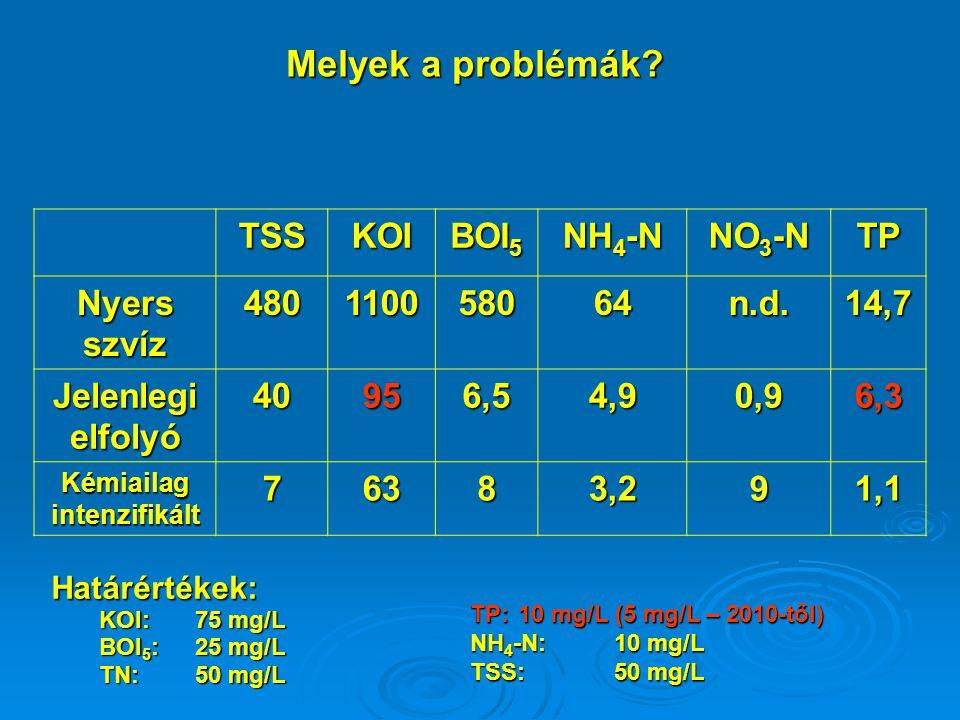 Melyek a problémák? TSSKOI BOI 5 NH 4 -N NO 3 -N TP Nyers szvíz 480110058064n.d.14,7 Jelenlegi elfolyó 40956,54,90,96,3 Kémiailag intenzifikált 76383,