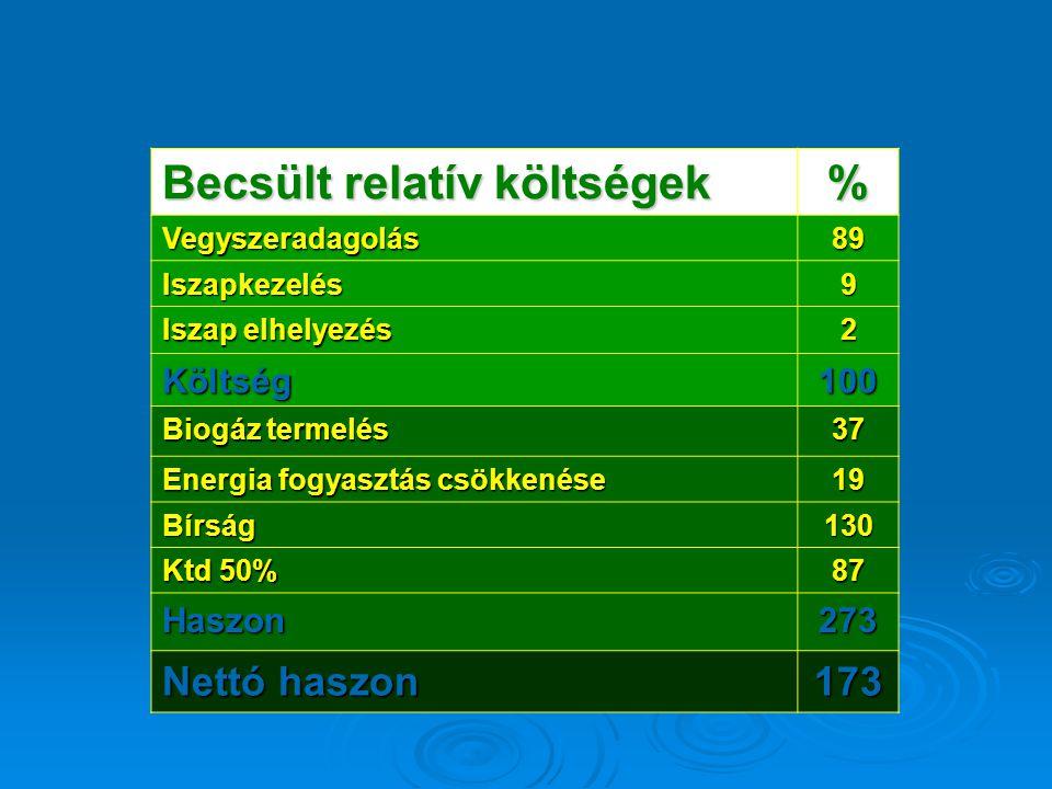 Becsült relatív költségek % Vegyszeradagolás89 Iszapkezelés9 Iszap elhelyezés 2 Költség100 Biogáz termelés 37 Energia fogyasztás csökkenése 19 Bírság1