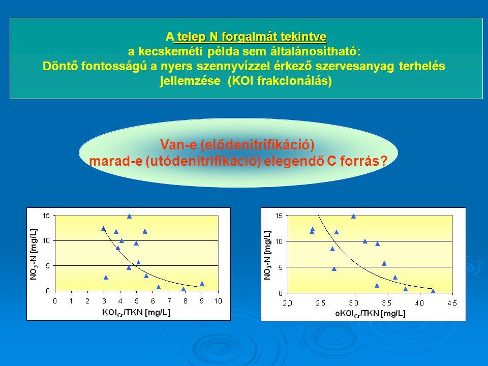 telep N forgalmát tekintve A telep N forgalmát tekintve a kecskeméti példa sem általánosítható: Döntő fontosságú a nyers szennyvízzel érkező szervesan