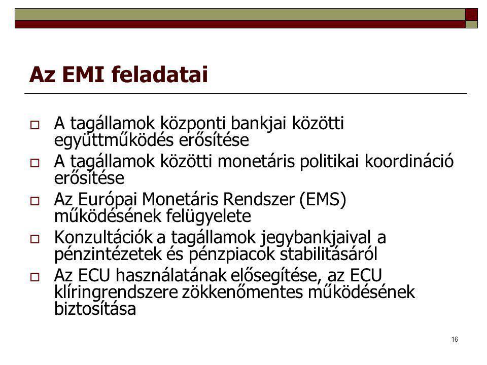 16 Az EMI feladatai  A tagállamok központi bankjai közötti együttműködés erősítése  A tagállamok közötti monetáris politikai koordináció erősítése  Az Európai Monetáris Rendszer (EMS) működésének felügyelete  Konzultációk a tagállamok jegybankjaival a pénzintézetek és pénzpiacok stabilitásáról  Az ECU használatának elősegítése, az ECU klíringrendszere zökkenőmentes működésének biztosítása