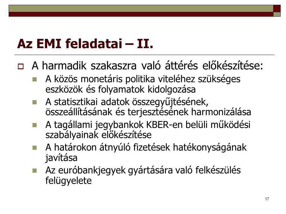 17 Az EMI feladatai – II.