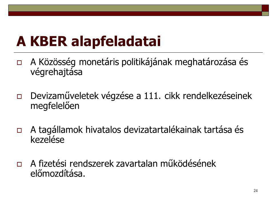 24 A KBER alapfeladatai  A Közösség monetáris politikájának meghatározása és végrehajtása  Devizaműveletek végzése a 111. cikk rendelkezéseinek megf