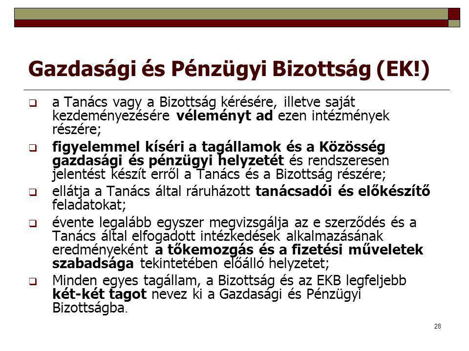 28 Gazdasági és Pénzügyi Bizottság (EK!)  a Tanács vagy a Bizottság kérésére, illetve saját kezdeményezésére véleményt ad ezen intézmények részére; 