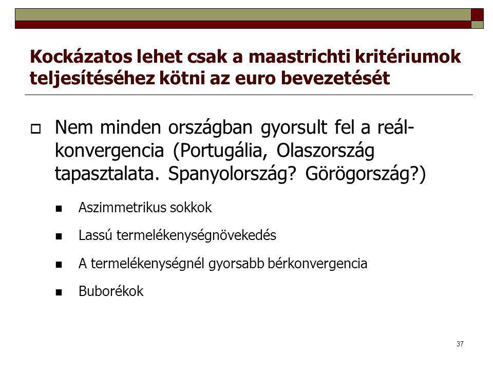 37 Kockázatos lehet csak a maastrichti kritériumok teljesítéséhez kötni az euro bevezetését  Nem minden országban gyorsult fel a reál- konvergencia (Portugália, Olaszország tapasztalata.
