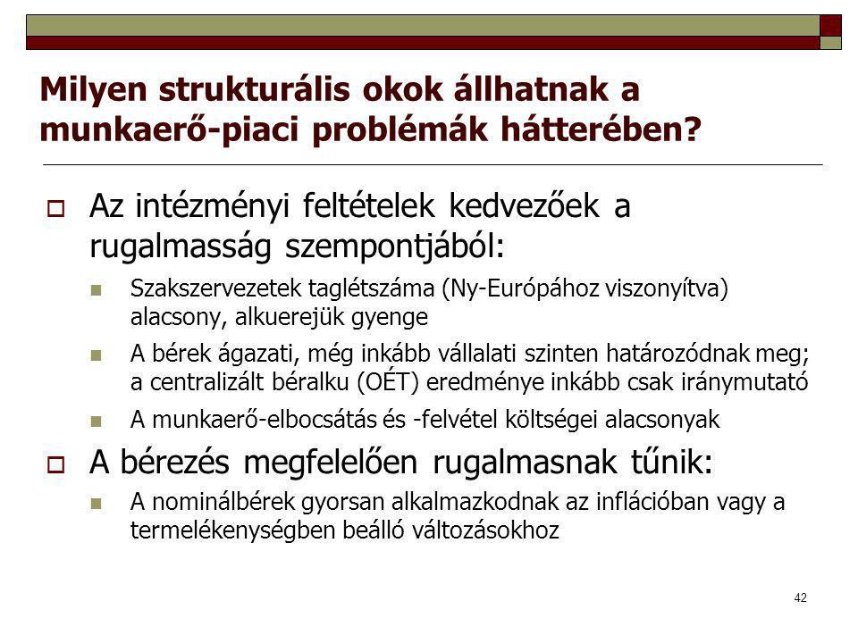 42 Milyen strukturális okok állhatnak a munkaerő-piaci problémák hátterében?  Az intézményi feltételek kedvezőek a rugalmasság szempontjából: Szaksze