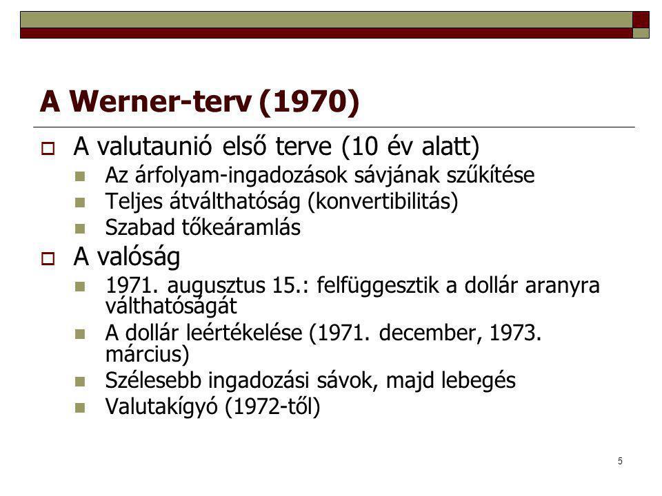 5 A Werner-terv (1970)  A valutaunió első terve (10 év alatt) Az árfolyam-ingadozások sávjának szűkítése Teljes átválthatóság (konvertibilitás) Szabad tőkeáramlás  A valóság 1971.