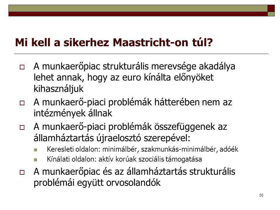 50 Mi kell a sikerhez Maastricht-on túl?  A munkaerőpiac strukturális merevsége akadálya lehet annak, hogy az euro kínálta előnyöket kihasználjuk  A