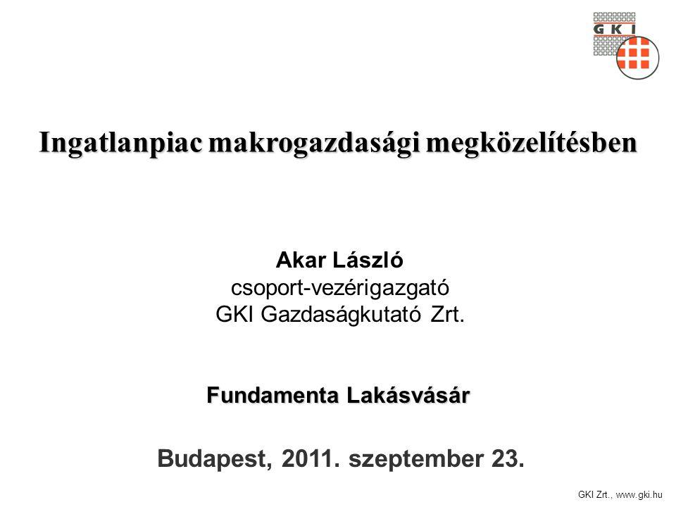 GKI Zrt., www.gki.hu Ingatlanpiac makrogazdasági megközelítésben Budapest, 2011. szeptember 23. Fundamenta Lakásvásár Akar László csoport-vezérigazgat
