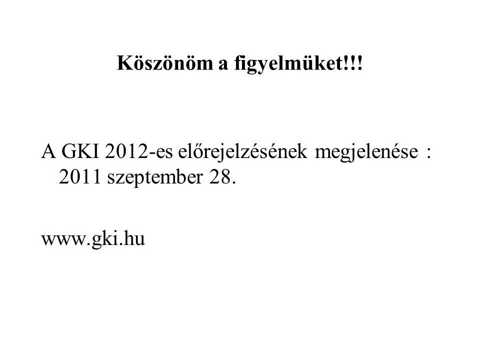 Köszönöm a figyelmüket!!! A GKI 2012-es előrejelzésének megjelenése : 2011 szeptember 28. www.gki.hu