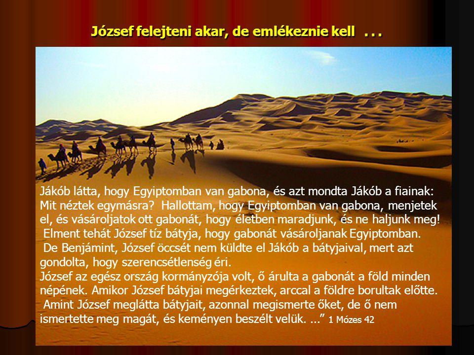 József felejteni akar, de emlékeznie kell … Jákób látta, hogy Egyiptomban van gabona, és azt mondta Jákób a fiainak: Mit néztek egymásra? Hallottam, h