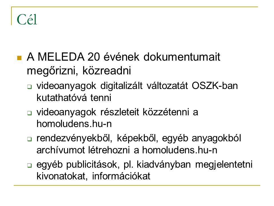 Cél A MELEDA 20 évének dokumentumait megőrizni, közreadni  videoanyagok digitalizált változatát OSZK-ban kutathatóvá tenni  videoanyagok részleteit