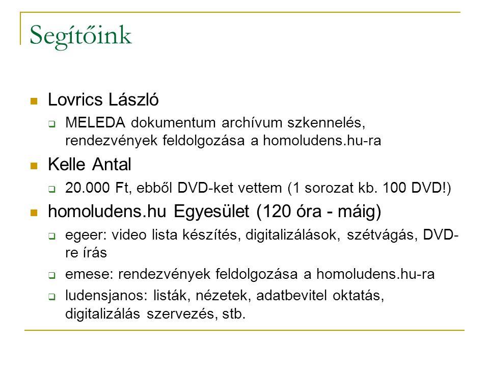 Segítőink Lovrics László  MELEDA dokumentum archívum szkennelés, rendezvények feldolgozása a homoludens.hu-ra Kelle Antal  20.000 Ft, ebből DVD-ket