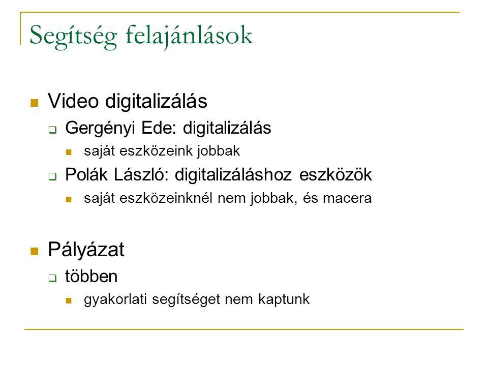 Segítség felajánlások Video digitalizálás  Gergényi Ede: digitalizálás saját eszközeink jobbak  Polák László: digitalizáláshoz eszközök saját eszközeinknél nem jobbak, és macera Pályázat  többen gyakorlati segítséget nem kaptunk