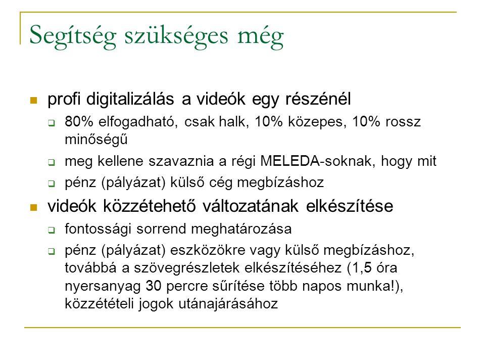 Segítség szükséges még profi digitalizálás a videók egy részénél  80% elfogadható, csak halk, 10% közepes, 10% rossz minőségű  meg kellene szavaznia