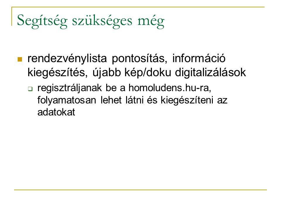 Segítség szükséges még rendezvénylista pontosítás, információ kiegészítés, újabb kép/doku digitalizálások  regisztráljanak be a homoludens.hu-ra, fol