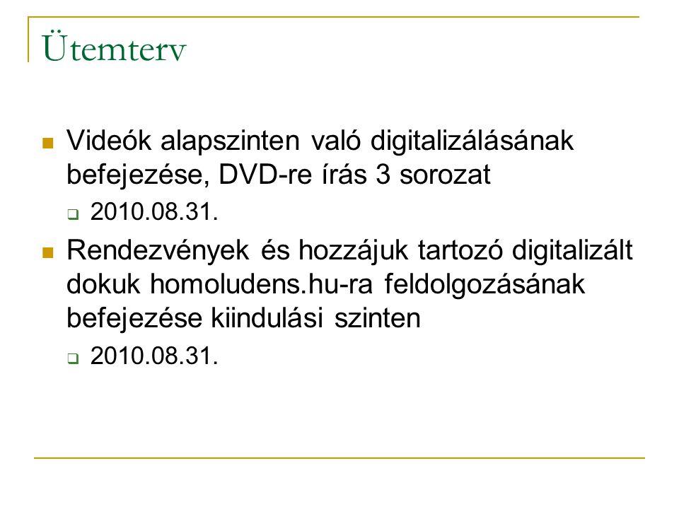 Ütemterv Videók alapszinten való digitalizálásának befejezése, DVD-re írás 3 sorozat  2010.08.31. Rendezvények és hozzájuk tartozó digitalizált dokuk