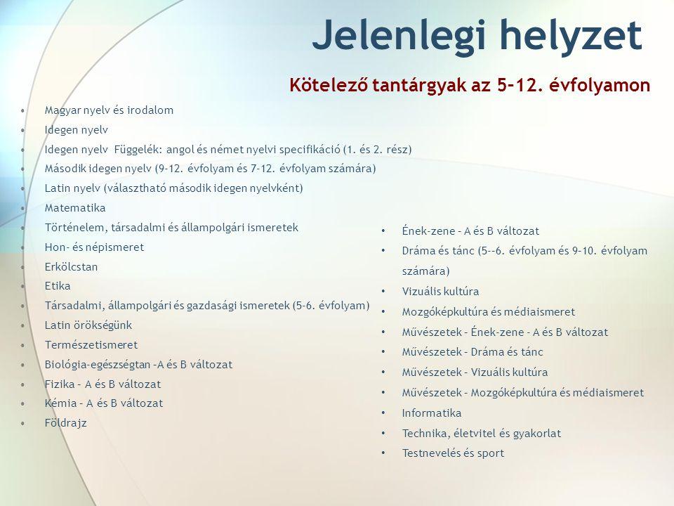 Jelenlegi helyzet Kötelező tantárgyak az 5–12. évfolyamon Magyar nyelv és irodalom Idegen nyelv Idegen nyelv Függelék: angol és német nyelvi specifiká