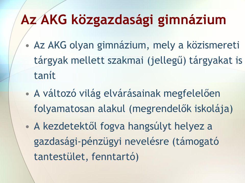 Az AKG közgazdasági gimnázium Az AKG olyan gimnázium, mely a közismereti tárgyak mellett szakmai (jellegű) tárgyakat is tanít A változó világ elvárása
