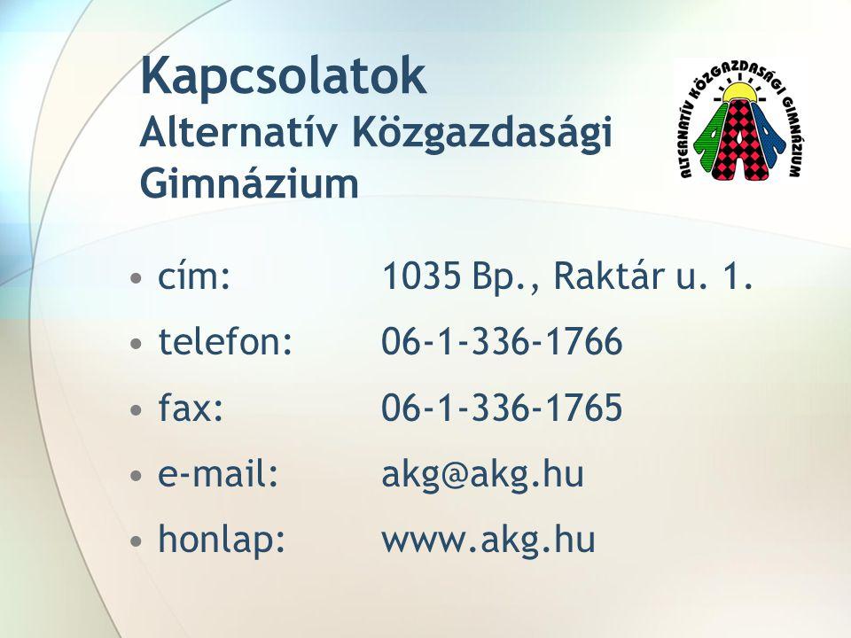 Kapcsolatok Alternatív Közgazdasági Gimnázium cím: 1035 Bp., Raktár u. 1. telefon:06-1-336-1766 fax: 06-1-336-1765 e-mail: akg@akg.hu honlap:www.akg.h