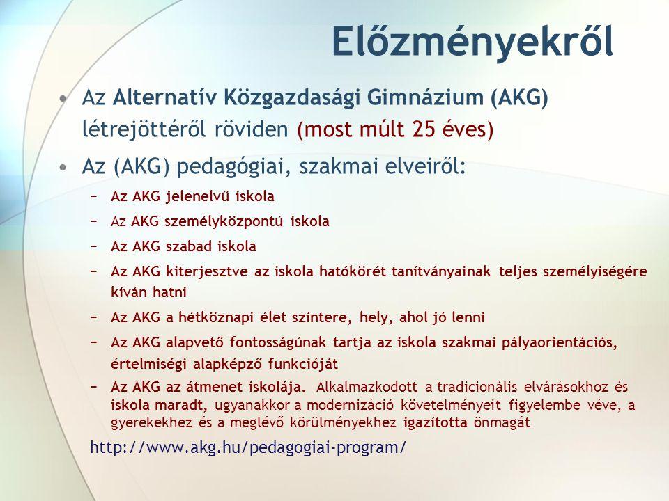 Előzményekről Az Alternatív Közgazdasági Gimnázium (AKG) létrejöttéről röviden (most múlt 25 éves) Az (AKG) pedagógiai, szakmai elveiről: −Az AKG jele