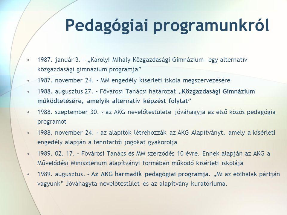 """Pedagógiai programunkról 1987. január 3. - """"Károlyi Mihály Közgazdasági Gimnázium- egy alternatív közgazdasági gimnázium programja"""" 1987. november 24."""