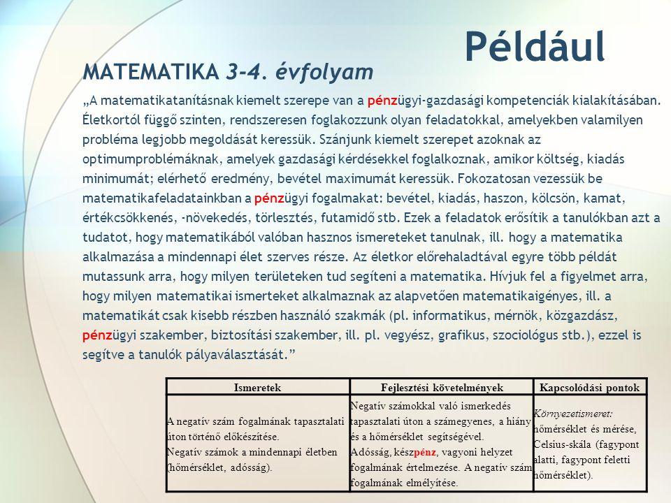"""Például MATEMATIKA 3-4. évfolyam """"A matematikatanításnak kiemelt szerepe van a pénzügyi-gazdasági kompetenciák kialakításában. Életkortól függő szinte"""