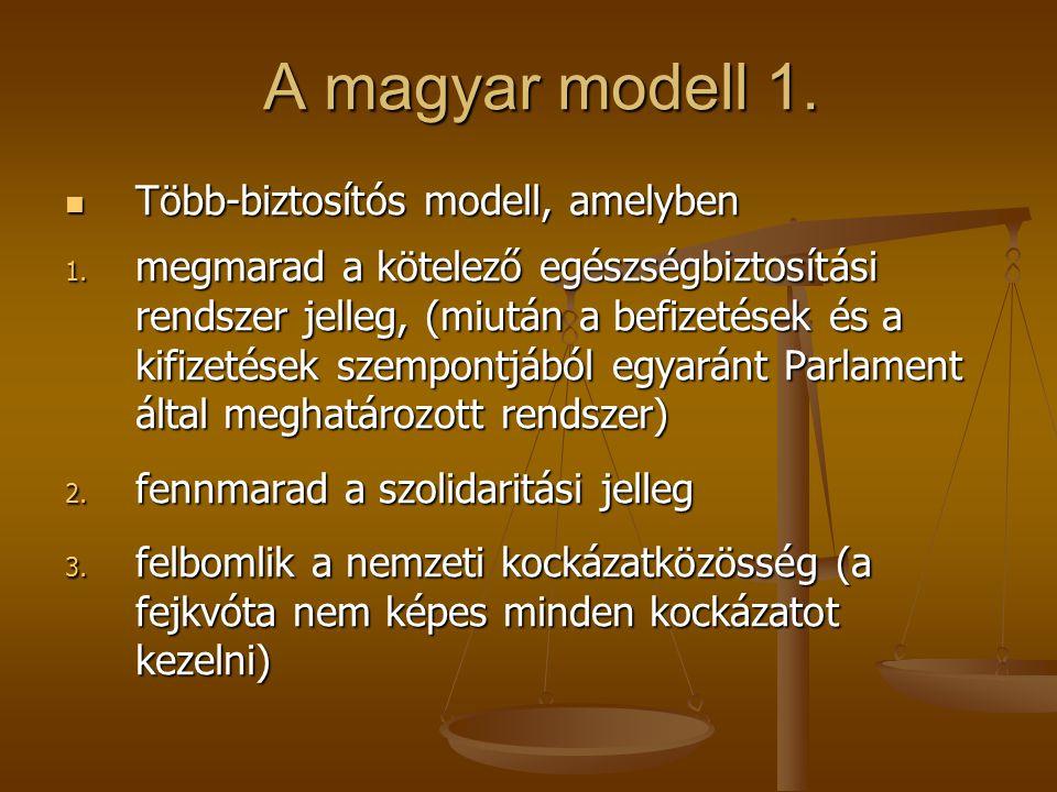 A magyar modell 1. A magyar modell 1. Több-biztosítós modell, amelyben Több-biztosítós modell, amelyben 1. megmarad a kötelező egészségbiztosítási ren