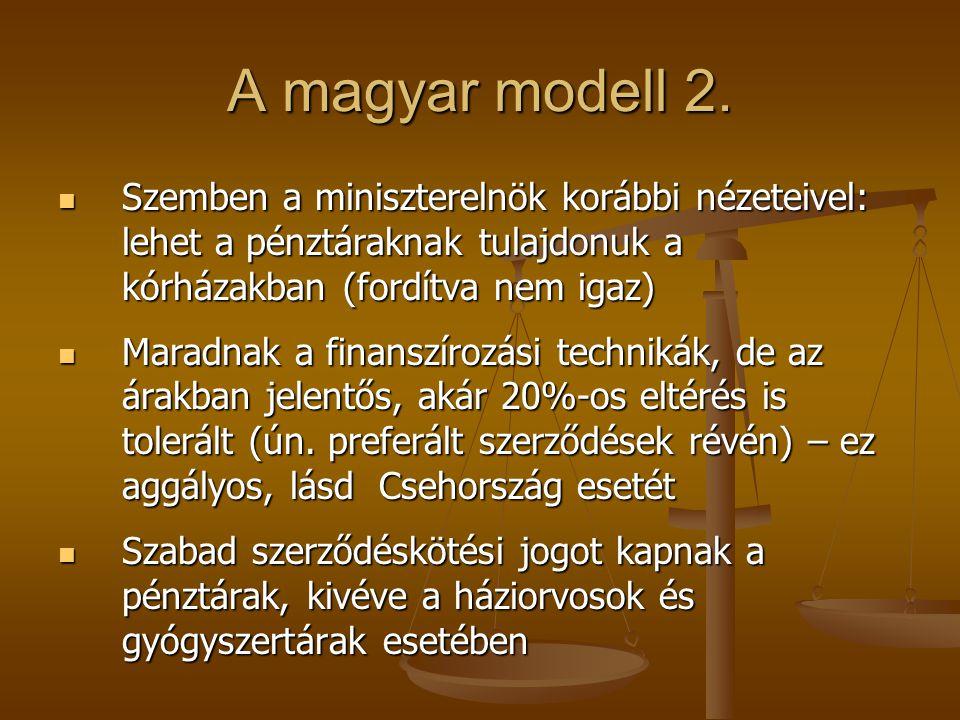 A magyar modell 2. Szemben a miniszterelnök korábbi nézeteivel: lehet a pénztáraknak tulajdonuk a kórházakban (fordítva nem igaz) Szemben a minisztere