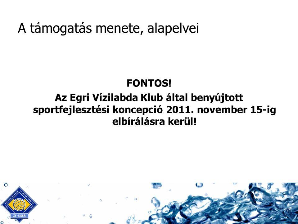 A támogatás menete, alapelvei FONTOS! Az Egri Vízilabda Klub által benyújtott sportfejlesztési koncepció 2011. november 15-ig elbírálásra kerül!