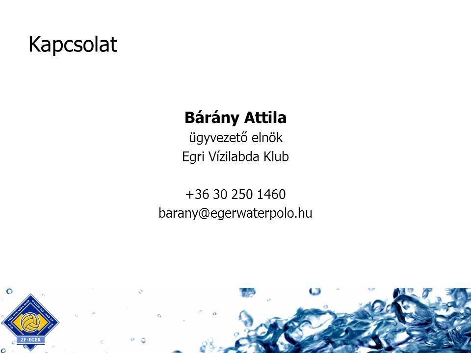 Kapcsolat Bárány Attila ügyvezető elnök Egri Vízilabda Klub +36 30 250 1460 barany@egerwaterpolo.hu