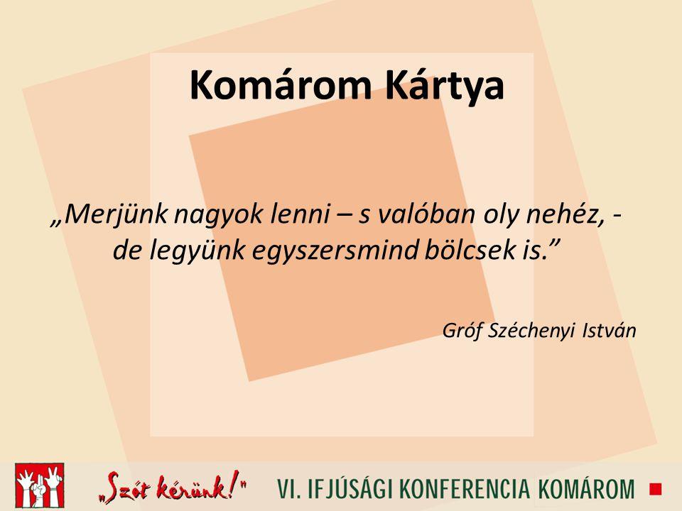 """Komárom Kártya """"Merjünk nagyok lenni – s valóban oly nehéz, - de legyünk egyszersmind bölcsek is."""" Gróf Széchenyi István"""