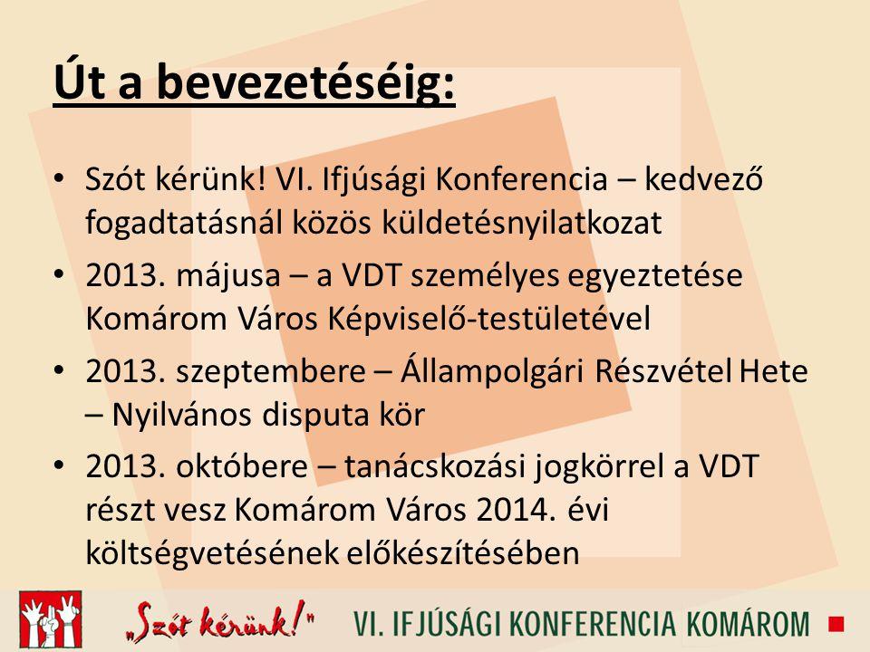 Út a bevezetéséig: Szót kérünk! VI. Ifjúsági Konferencia – kedvező fogadtatásnál közös küldetésnyilatkozat 2013. májusa – a VDT személyes egyeztetése