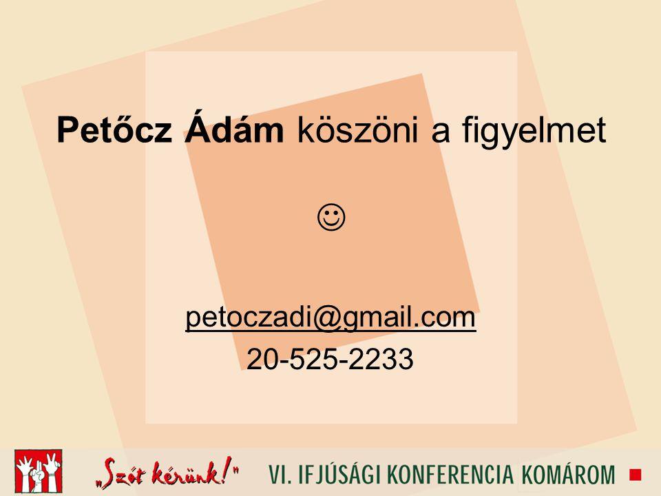 Petőcz Ádám köszöni a figyelmet petoczadi@gmail.com 20-525-2233