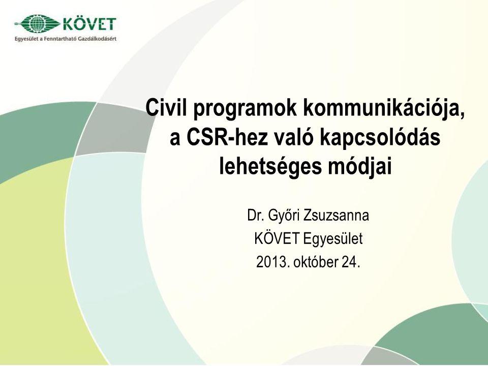 Civil programok kommunikációja, a CSR-hez való kapcsolódás lehetséges módjai Dr.