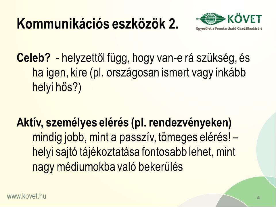 Kommunikációs eszközök 2. Celeb. - helyzettől függ, hogy van-e rá szükség, és ha igen, kire (pl.
