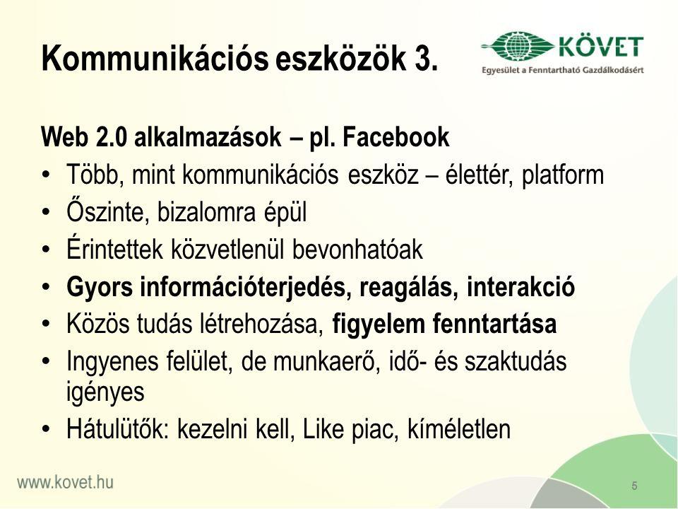 Web 2.0 alkalmazások – pl.
