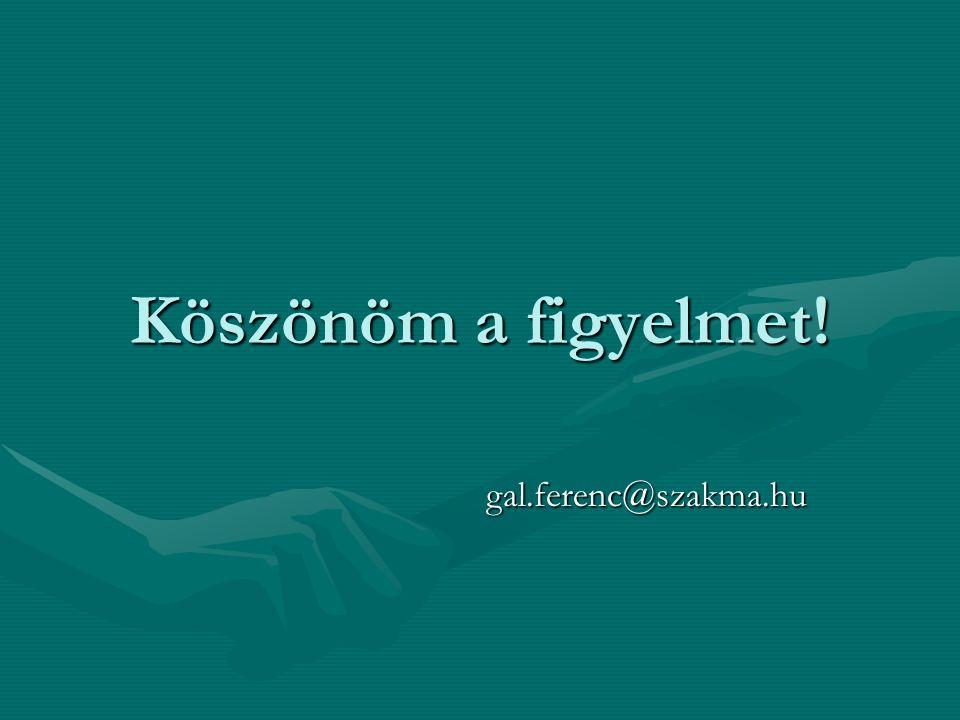 Köszönöm a figyelmet! gal.ferenc@szakma.hu